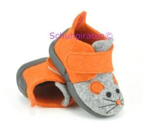 aac24281d12435 Rohde warme Hausschuhe orange grau Maus