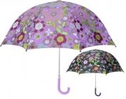 Playshoes Kinder Regenschirm Flora violett Blümchen