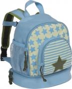 Lässig Rucksack Kindergarten in hellblau/oliv mit Sternen