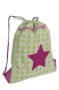 Lässig Turnbeutel in hellgrün/pink mit Sternen