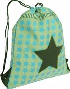 Lässig Turnbeutel in hellblau/oliv mit Sternen