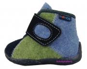 Rohde Hausschuhe in jeansblau/grün Softfilz/Loden Gr. 19