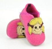 Rohde warme Hausschuhe in pink mit Puppengesicht, Gr. 19-26