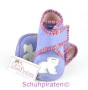 Rohde Hausschuhe in flieder mit Eisbären, Gr. 18 + 24