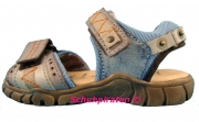 Däumling schicke Kinder Sandale mit 2-fach Klettverschluß in taubenblau, Gr. 34
