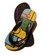 Quiksilver Flip Flop Badeschuhe gelb/blau/schwarz,  Gr. 35 + 41